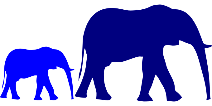 Elephant, Baby, Mother, Blue, Purple