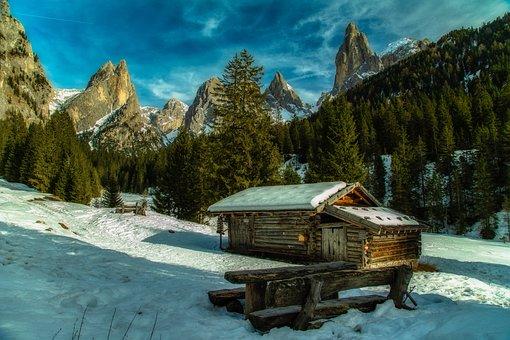 Mountain, Dolomites, Cabin, Wood, Italy