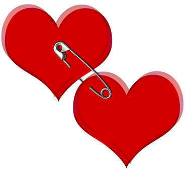 Heart, Love, Red, Two, Safety Pin, Wire