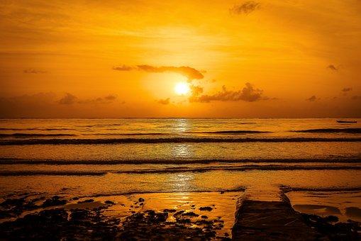 Morning, Sunrise, Beach, Landscape, Sky, Brown Morning