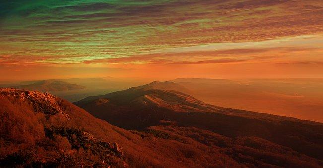 Sunset, Mountains, Landscape, Clouds, Scenic, Twilight