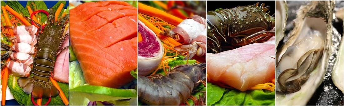 Seafood, Collage, Food, Food Collage, Fish, Dinner