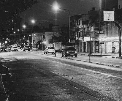 Night, Car, Street, Gray Night