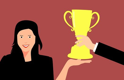 Woman, Award, Holding, Achievement