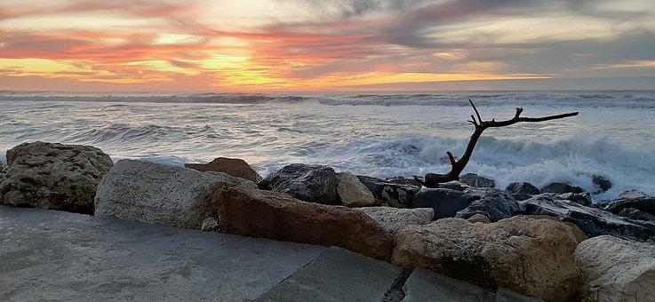 Ocean, Atlantic, Sunset, Lacanau, Blue
