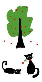 Cat, Tree, Love, Valentine's Day, Heart, Green Tree