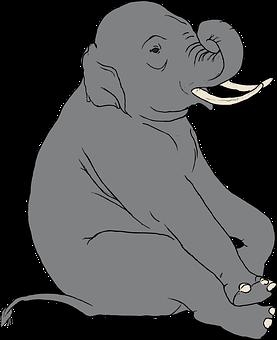 Elephant, Indian, Animal, Mammal, Sitting, Tusks, Big