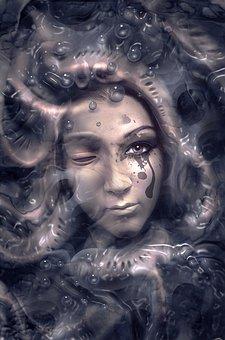 Book Cover, Portrait, Organic, Face, Woman, Mystical