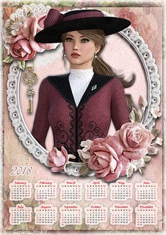 Calendar 2018, 2018, Calendar, Vintage, Roses, Key
