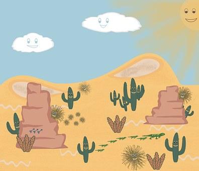 Desert, Happy, Summer, Hot, Sky, Cloud, Sun, Smile