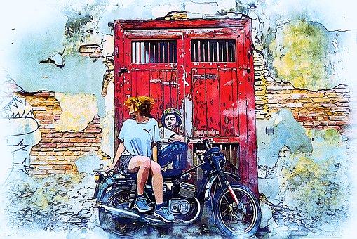 Street, Graffiti, Hair, Woman