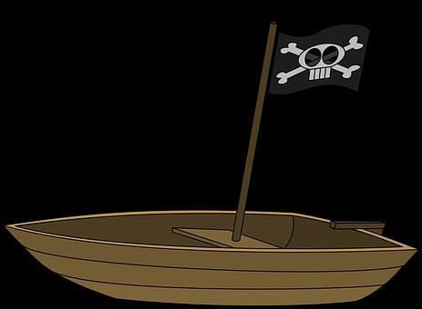 Boat, Flag, Pirates, Rowboat