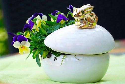 Easter Decoration, Sugar Bowl, Floral, Hare, Flowers
