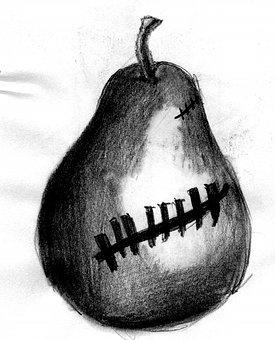 Pear, Drawing, Pencil, Skull, Creepy, Gothic, Design