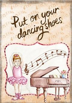 Ballerina, Dance, Piano, Card, Greeting, Recital, Girl