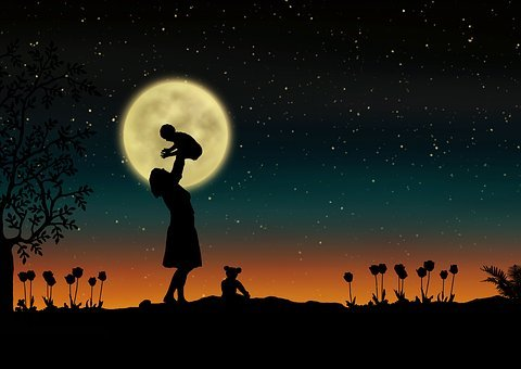 Mother, Baby, Moon, Flowers, Silhouettes
