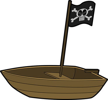 Boat, Pirate, Rowboat, Rowing, Small, Flag, Skull