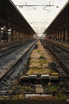 Train, Station, Rails, Transport, Empty, Brown Train