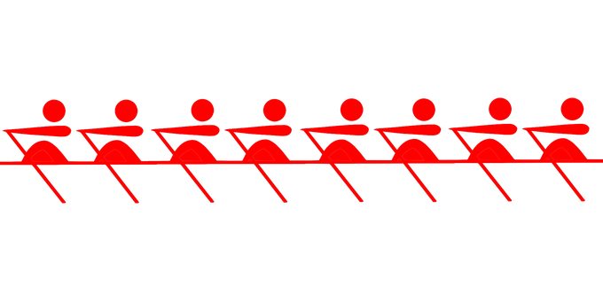 Rowing, Oars, Team, Sport, Pictogram, Red, Eight, 8