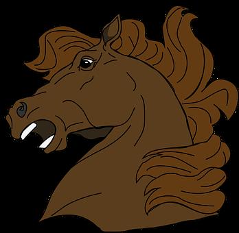 Horse, Head, Cartoon, Brown, Animal, Startled, Upset