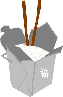 Box, Chinese, Rice, Fast Food, Sticks, Grey, Brown