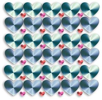 Valentine, Valentine's Day, Hearts, Metallic, Silver