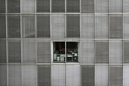 Office, Building, Window, Structure, Venetian Blinds