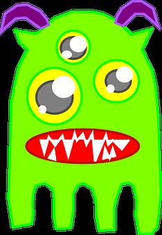 Monster, Alien, Ghost, Green, Triple, Eyes, Trio, Four