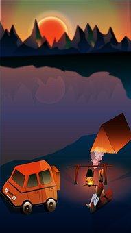 Camp, Solo, Sunset, Mount, Lake, Car, Outdoor, Orange