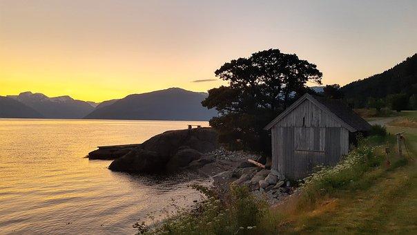 Sunset, Norway, Fjord, Heaven, Landscape