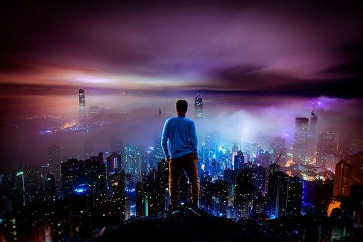 Night, City, Person, Tokyo
