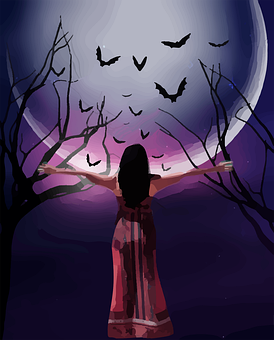 Woman, Fantasy, Full Moon, Female, Feminine, Witch