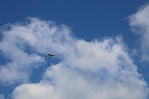 Blue, Sky, Glider, Aircraft, Clouds, Air, Flyer, Wind