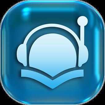 Icons, Symbols, Headphones, Audiobook, Book, Button