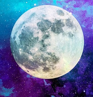 Moon, Purple, Blue, Lunar, Space, Sky, Night, Stars