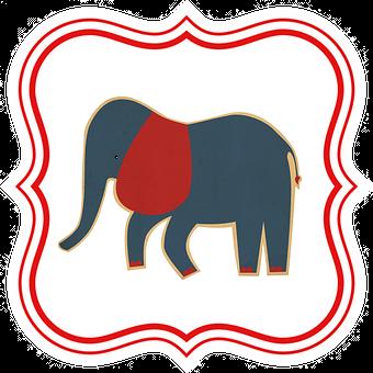 Elephant, Kids, Animal, Tag, Label, Drawing