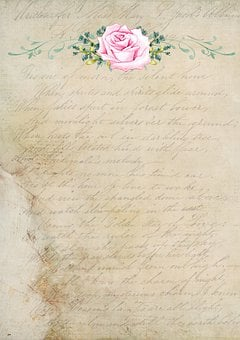 French, Vintage, Rose, Letter, Paper