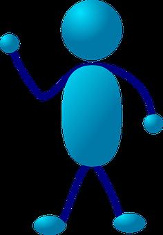 Stick Figure, Stickman, Blue, Lecturing