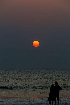 Sun, Sunset, Sky, Sea, Abendstimmung, Romantic, Orange