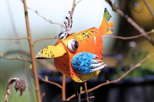 Bird, Tin Toys, Gartendeko, Sheet, Garden Decoration