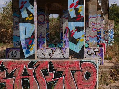 Graffiti, Bridge, Mural, Painted