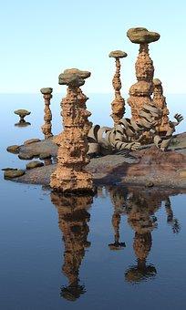 Tide, Tides, Ebb, Flood, Reef, Sand, Sea, Figure, Woman