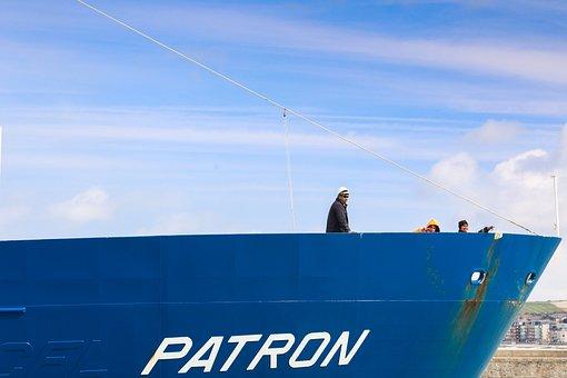 Le Tréport, Port, Ship, Blue, People, Wave, France