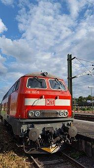 Diesel Locomotive, Red, Central Station, Wiesbaden