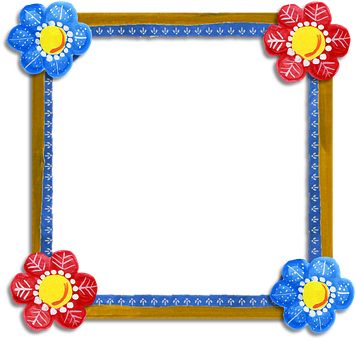 Frame, Blue, Red, Flower, Floral, Brown, Square, Folk