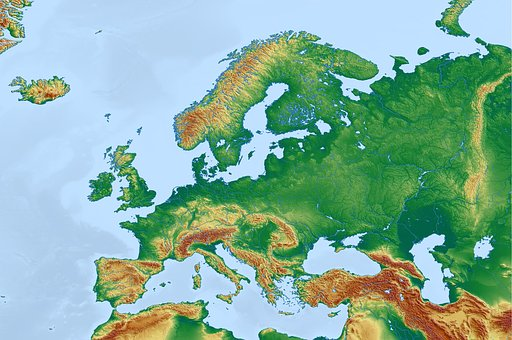 Europe, Map, Physical Map, Topographic Map