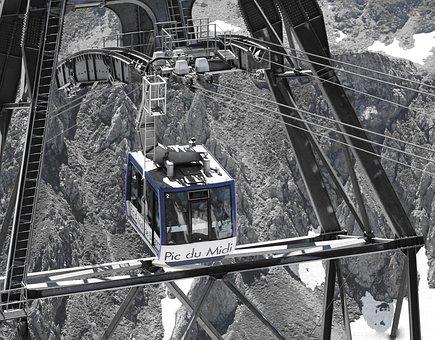 South Peak, Pyrénées, Cable Car, Cables, Snow, Cabin