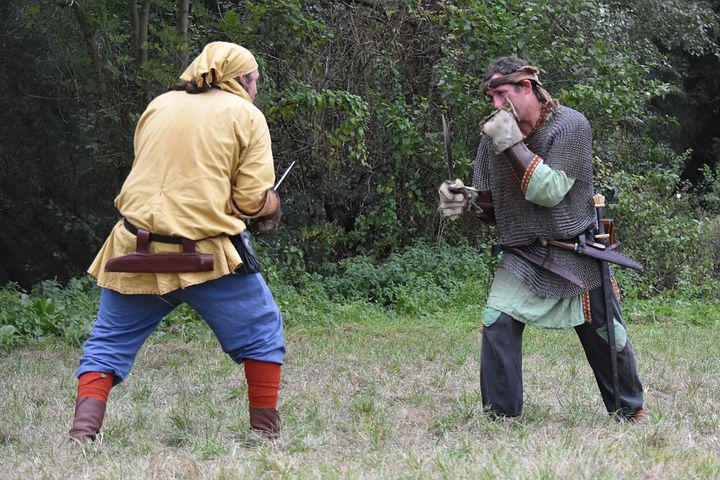Man, Fighting, Sword, Outfit, Clothing, People, Fight