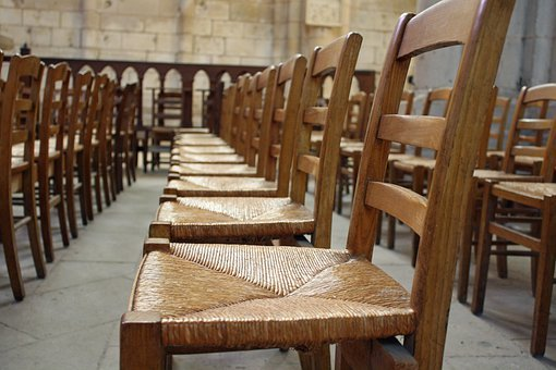 Chairs, Seats, Furniture, Empty, Wooden, Rows, Hall