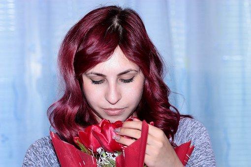 Girl, Tulips, Flowers, Beauty, March 8, Bouquet